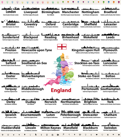 England cities skylines icons with names of city, region and ceremonial county. Flag and map of England Ilustração