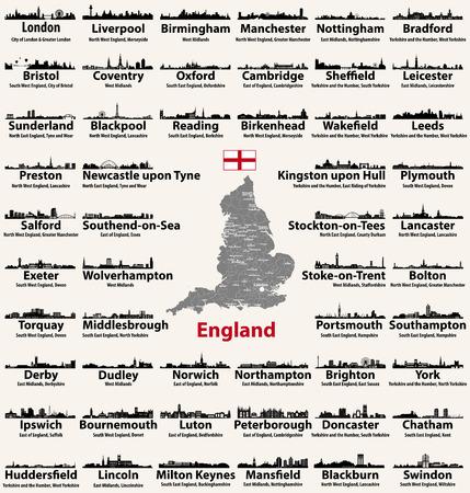 Angleterre grandes villes icônes de silhouettes de skylines abstraites. Carte de l'Angleterre avec toutes les grandes villes