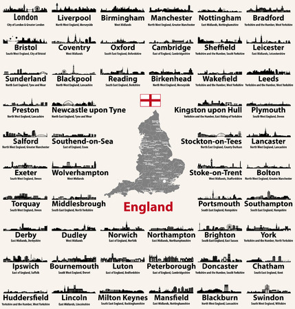 Engeland grote steden abstracte skylines silhouetten pictogrammen. Kaart van Engeland met alle grote steden