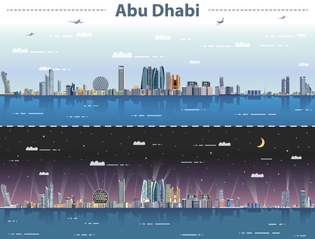 vector abstract illustration of Abu Dhabi skyline at day and night
