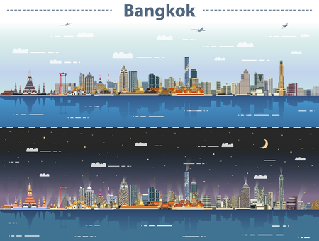vector abstract illustration of Bangkok skyline at day and night