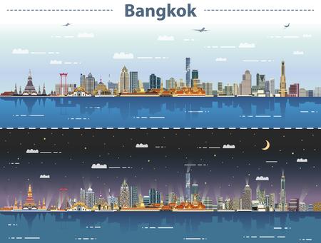 vector abstract illustration of Bangkok skyline at day and night