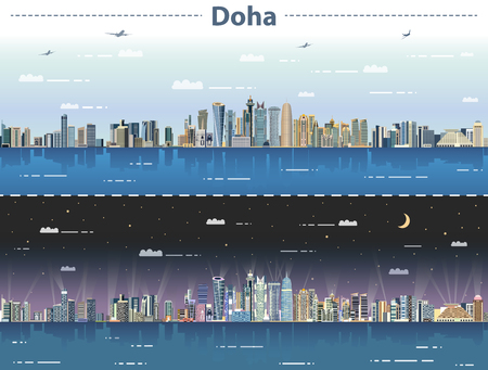vector illustration of Doha skyline at day and night Çizim