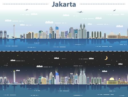 vector illustration of Jakarta skyline at day and night  イラスト・ベクター素材
