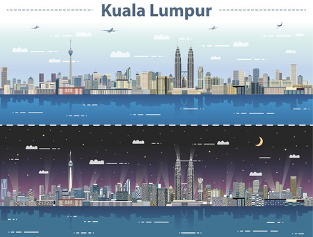 vector illustration of Kuala Lumpur skyline at day and night
