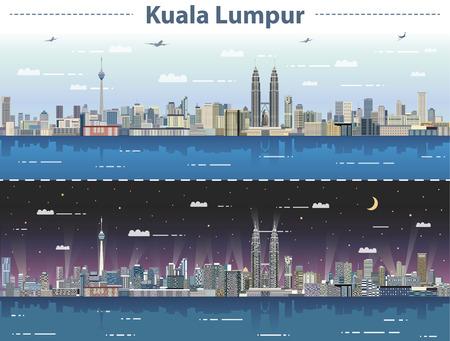 vectorillustratie van de skyline van Kuala Lumpur bij dag en nacht