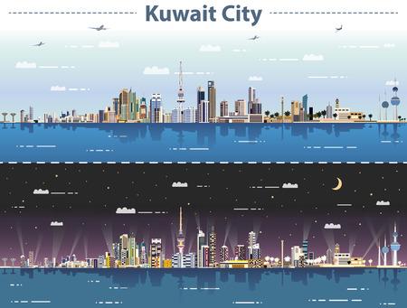 illustration vectorielle des toits de la ville de Koweït jour et nuit Vecteurs