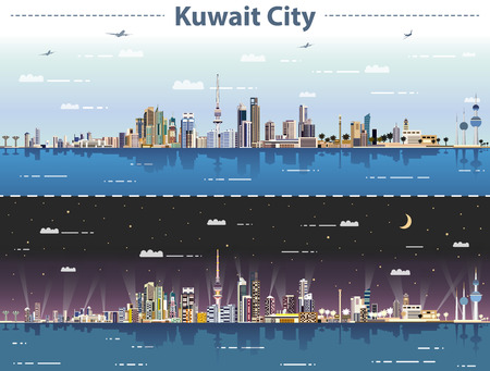 vector illustration of Kuwait city skyline at day and night