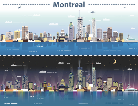 vector abstract illustration of Montreal at day and night