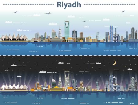 vector illustration of Riyadh skyline at day and night