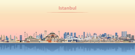 vector illustration of Istanbul skyline at sunrise