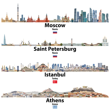 cityscapes of Moscow, Saint Petersburg, Istanbul and Athens. Flags of Russia, Turkey and Greece. Vector high detailed illustration