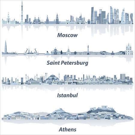 Vektorstädte Skylines von Moskau, Sankt Petersburg, Istanbul und Athen in sanfter blauer Farbpalette Vektorgrafik