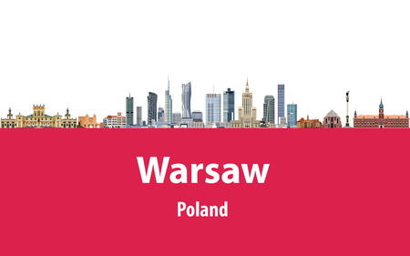 Vector illustration of Warsaw city skyline with flag of Poland on background