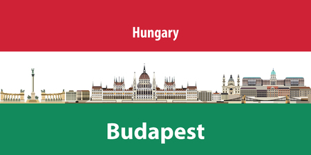 Vector illustration of Budapest city skyline with flag of Hungary on background