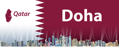 Vector illustration of Doha city skyline with flag and map of Qatar on background