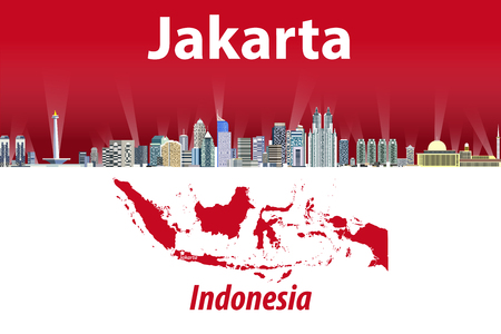 Vector illustration of Jakarta city skyline with flag and map of Indonesia on background