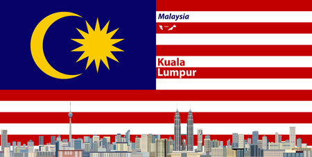 Vector illustration of Kuala Lumpur city skyline with flag of Malaysia on background