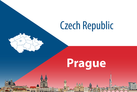Vector illustration of Prague city skyline with flag of Czech Republic on background
