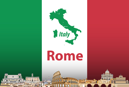 Vector illustration of Rome city skyline with flag and map of Italy on background Illustration