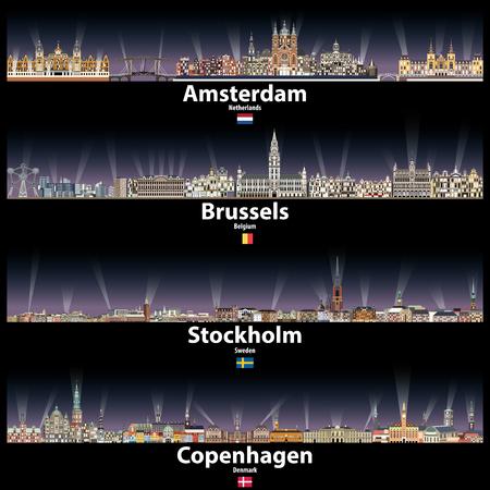 Amsterdam, Brussels, Stockholm and Copenhagen Illustration