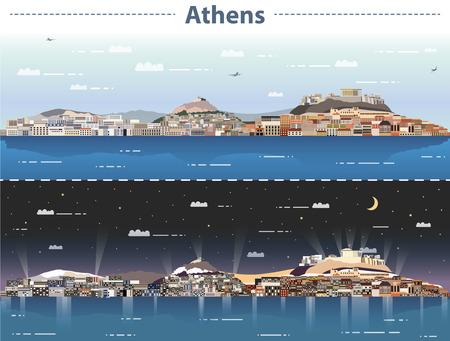 vector illustration of athens city skyline