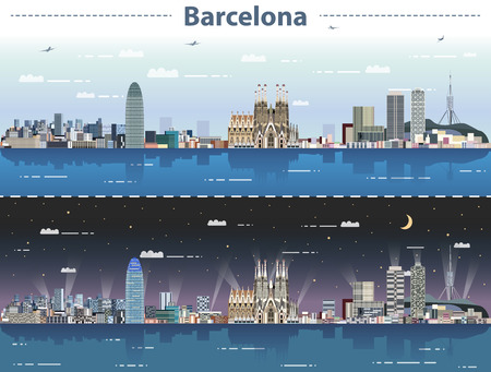 vector illustration of Barcelona cityscape at day and night 向量圖像