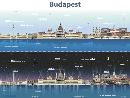 vector illustration of Budapest city skyline at day and night