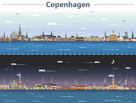 vector illustration of Copenhagen city skyline at day and night