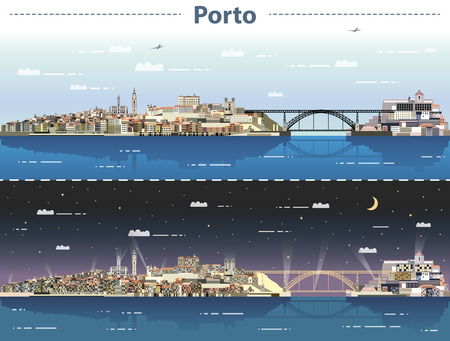 vector illustration of Porto city skyline at day and night