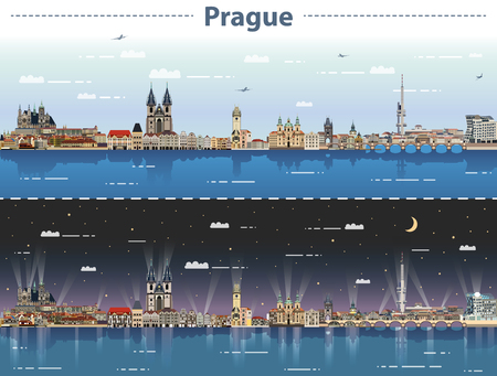 vector illustration of prague city skyline at day and night