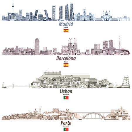 Ilustración vectorial de los horizontes de las ciudades de Madrid, Barcelona, Lisboa y Oporto