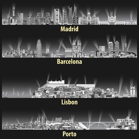 Vektor-Illustration der Skylines der Städte Madrid, Barcelona, Lissabon und Porto