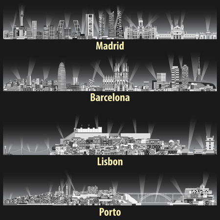 Vektor-Illustration der Skylines der Städte Madrid, Barcelona, Lissabon und Porto Vektorgrafik