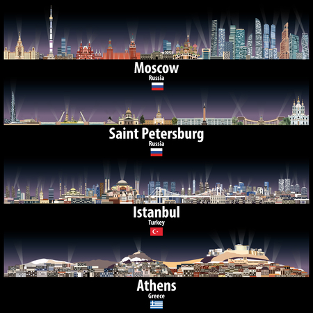 Moscow, Saint Petersburg, Istanbul and Athens cities skylines