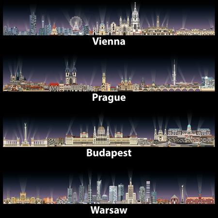 vector illustration of Vienna, Prague, Budapest and Warsaw cities skylines Vektorové ilustrace