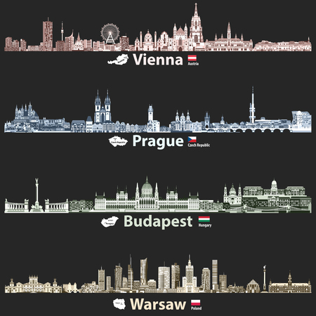 vector illustration of Vienna, Prague, Budapest and Warsaw cities skylines