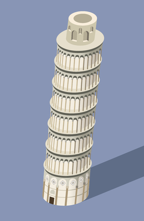 vector 3d isometric icon of Pisa Tower with flat style colored background and shadow