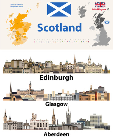 Scotland subdivisions map and Scottish largest cities skylines. All elements separated in editable and detachable layers. Vector illustration Foto de archivo - 113929271
