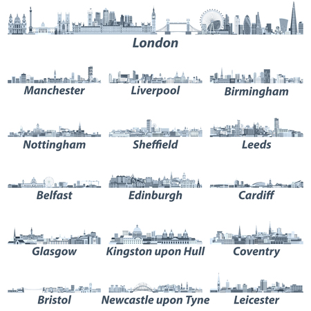 skylines in tints of blue color Stock Illustratie