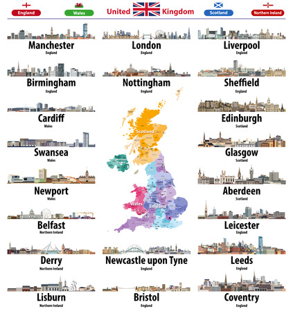 United Kingdom cities skylines icons. High detailed map of United Kingdom with countries and regions. All layers editable and labelled. Vector illustration