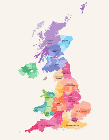 colored map of the United Kingdom Districts and counties map of England, Wales, Scotland and Northern Ireland Vettoriali