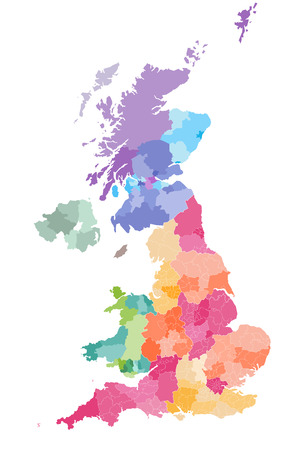 colored map of the United Kingdom Districts and counties map of England, Wales, Scotland and Northern Ireland Ilustrace