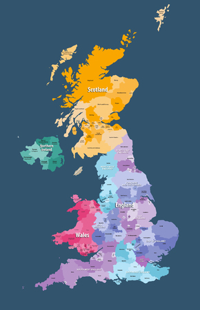 United Kingdom high detailed vector map with administrative divisions