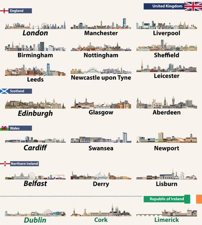 British Isles countries: United Kingdom (England, Wales, Scotland, Northern Ireland) and Republic of Ireland. Vector illustration