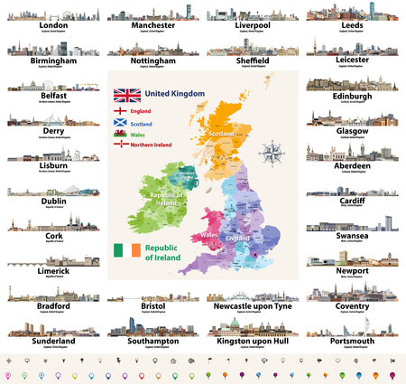 skylines abstract icons. Map and flags of British Isles: United Kingdom (England, Wales, Scotland, Northern Ireland) and Republic of Ireland