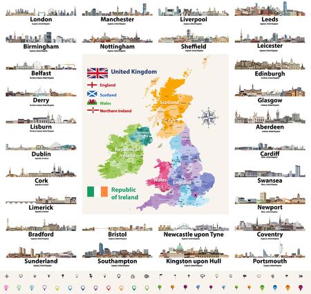 Skylines abstrakte Symbole. Karte und Flaggen der britischen Inseln: Vereinigtes Königreich (England, Wales, Schottland, Nordirland) und Republik Irland