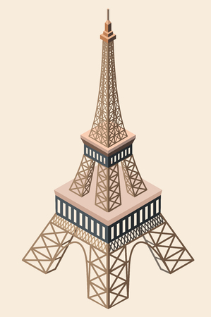 vector 3d isometric icon of Eiffel Tower Illustration