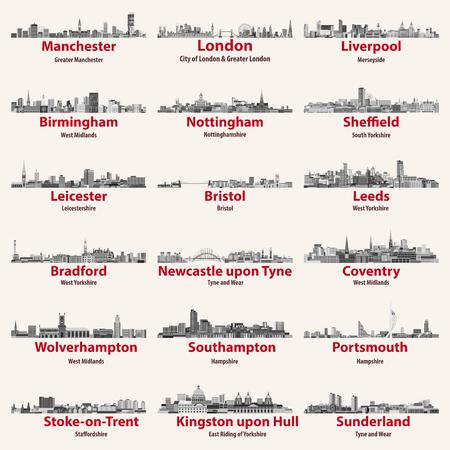 England cities isolated skylines. Vector illustration set Çizim