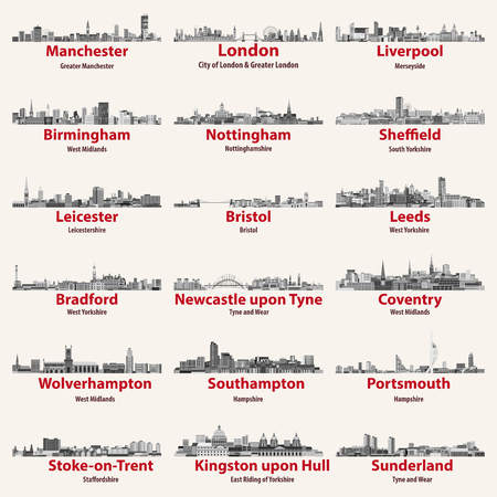 England cities isolated skylines. Vector illustration set Illustration